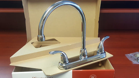 Pfister G136-2000 Double Handle 8 Centerset Kitchen Faucet, Polished Chrome NEW