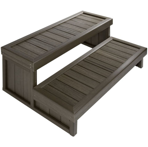 Jacuzzi Original Hot Tub Steps 32″ Synthetic Dual Riser Driftwood Grey Color