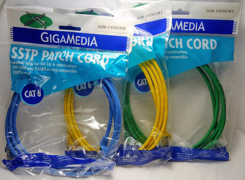 Cat 6 Network Ethernet Molded Patch Cable CAT6S2M Gold Plated RJ45 7' FEET LOT 3PCS-1