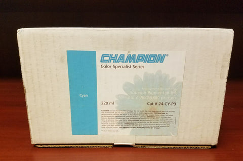 Champion Aqueous Pigmented Ink for Epson Cyan 220 ml Model 24-CY-P3 1