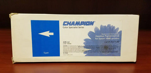 Champion Aqueous Pigmented Ink for Epson Cyan 220 ml Model 25-CY-P3