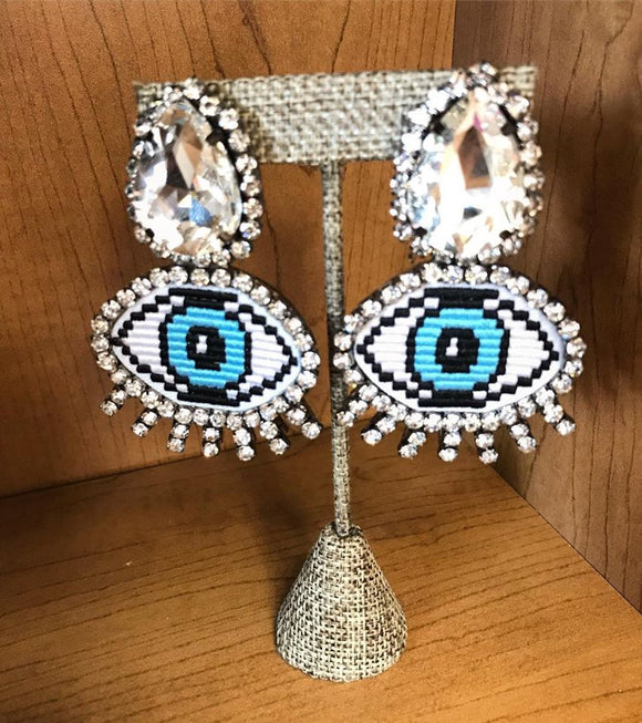 Eye Earrings With Crystals