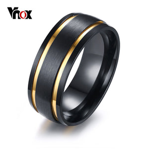 Vnox 8MM Men's Brushed Black Wedding Bands Ring Stylish Gold Tone Double Grooved Male Boy Finger Rings Gift Comfort Fit - DVD MODA