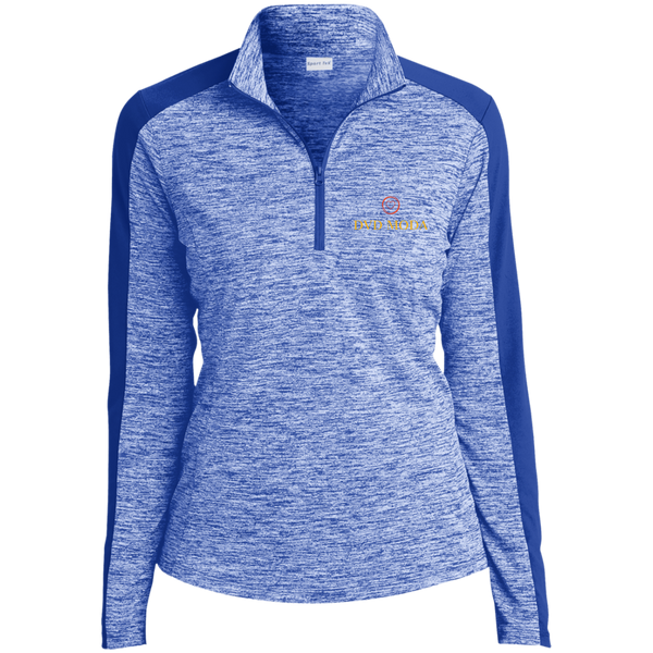 Ladies' Electric Heather Colorblock 1/4-Zip Pullover - DVD MODA