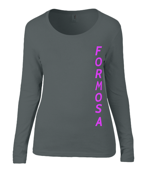 Ladies Sheer Long Sleeve Scoop Neck T-Shirt F O R M O S A - DVD MODA