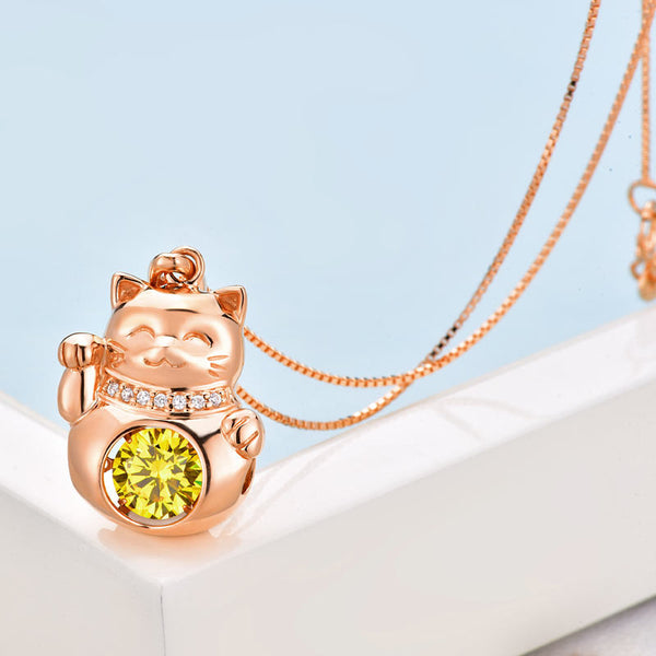 Lucky Cat Dancing Stone Pendant Necklace Solid 925 Sterling Silver Rose Gold Color - DVD MODA