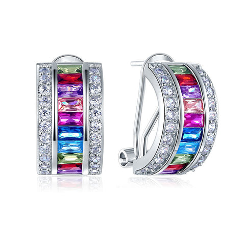 Muti-Color Stones Solid 925 Sterling Silver Earrings Jewelry Lady New Style - DVD MODA