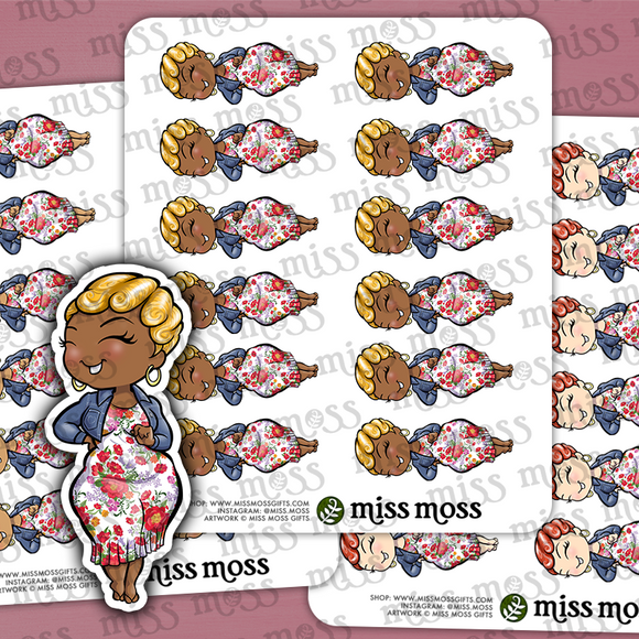 Flower Dress Fashion Babe Stickers - Miss Moss Gifts