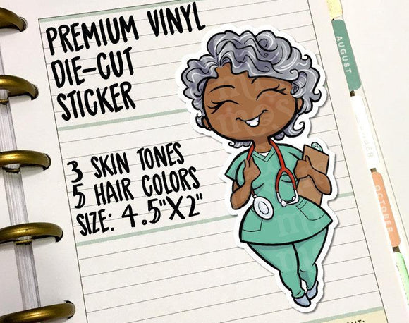 Nurse Doctor Scrubs Die-Cut Vinyl Sticker - Miss Moss Gifts