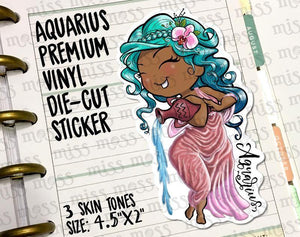 Aquarius Zodiac Horoscope Die-Cut Girl - Miss Moss Gifts