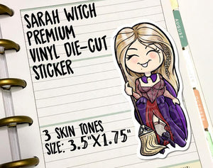 Sarah Halloween Witch Vinyl Die-Cut Sticker - Miss Moss Gifts