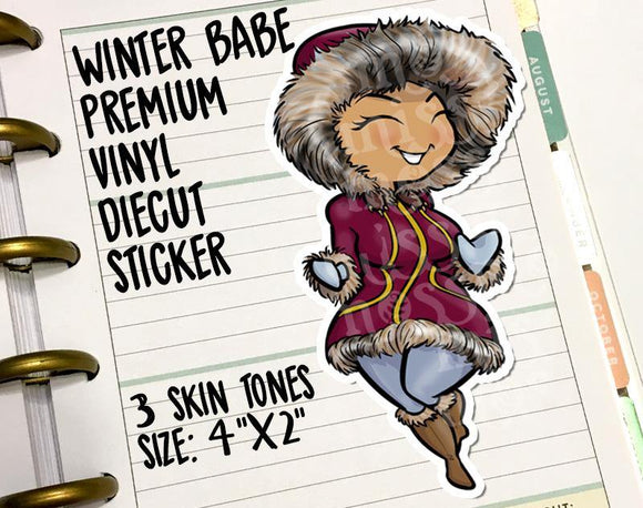 Winter Parka Curvy Girl Die-Cut Sticker - Miss Moss Gifts
