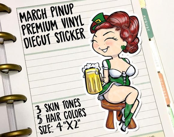 March Pinup Curvy Girl Vinyl Decal Die-Cut - Miss Moss Gifts