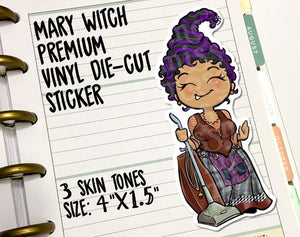 Mary Halloween Witch Vinyl Die-Cut Sticker - Miss Moss Gifts