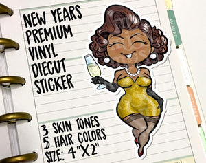 January New Years Curvy Pinup Vinyl Decal Die-Cut - Miss Moss Gifts