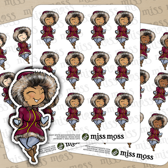 Cozy Winter Parka Girl Stickers - Miss Moss Gifts