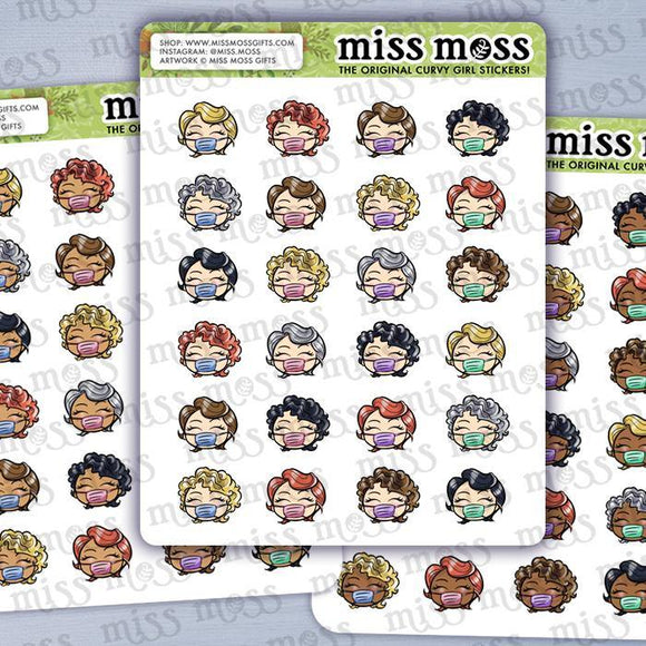 Facemask Nurse Girl Stickers - Miss Moss Gifts