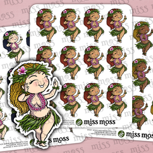 Dancing Hula Girl Stickers - Miss Moss Gifts