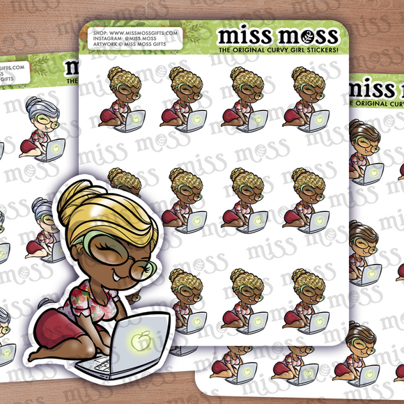 Laptop Business Girl Planner Stickers - Miss Moss Gifts