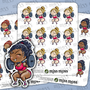 Workout Lifting CrossFit Girl Stickers - Miss Moss Gifts