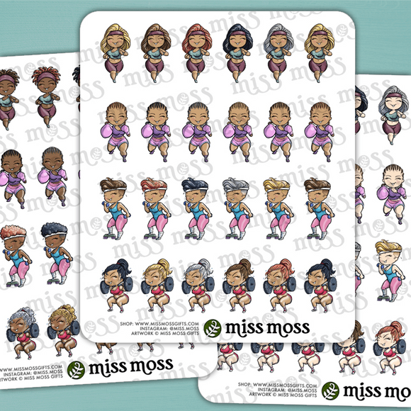Mini Fitness Workout Curvy Girl Stickers - Miss Moss Gifts