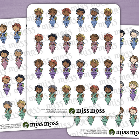 Mini Nurse Doctor Dentist Curvy Girl Stickers - Miss Moss Gifts