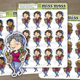 Grocery Shopping Girl Stickers - Miss Moss Gifts