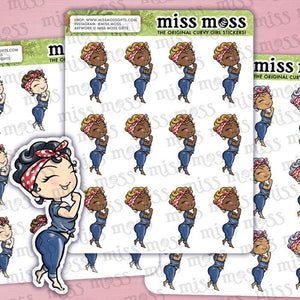 Rosie the Riveter Curvy Girl Planner Stickers - Miss Moss Gifts