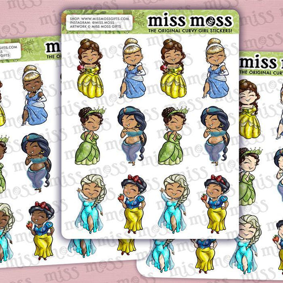 Curvy Princess Planner Stickers - Miss Moss Gifts