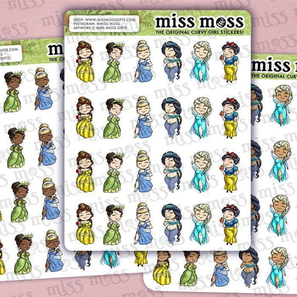 Mini Curvy Princess Planner Stickers - Miss Moss Gifts