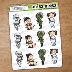 Star Princess Galaxy Wars Character Planner Stickers - Miss Moss Gifts