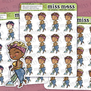 Vacuuming Girl Stickers - Miss Moss Gifts