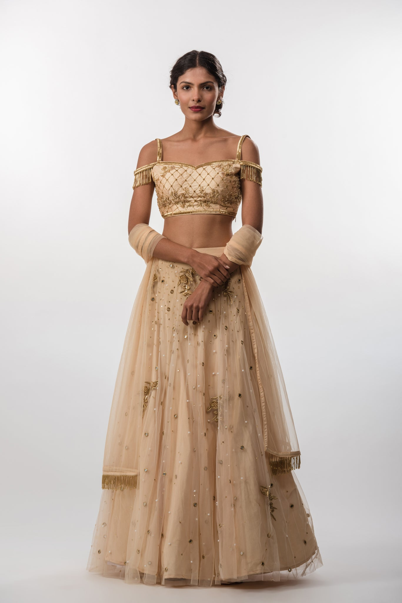Tuscan Gold Sequins And Resham Embroidered Lehenga Skirt Freeverse