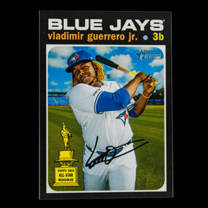 Vladimir Guerrero Jr 2020 Topps Heritage High Number SP with him in his back swing with the bat over his left shoulder - Toronto Blue Jays