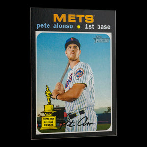 Pete Alonso 2020 Topps Heritage High Number SP 2nd Year Baseball Card with Pete holding the bat in his stance waiting for a pitch - New York Mets