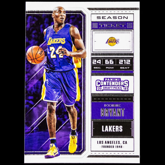 Kobe Bryant 2018-19 Contenders Draft Picks Basketball Card Los Angeles Lakers Basketball Cards - Duval Sports Cards  #iduval