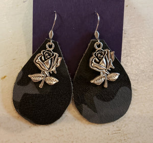 Camo  Rose Earrings
