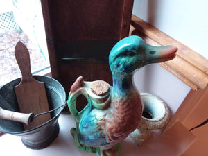 Vintage St. Clement Majolica Duck Pitcher
