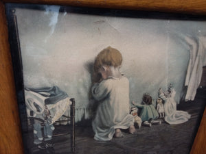 Antique Print Child with Dolls