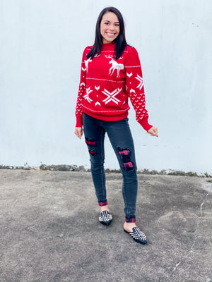 Christmas Red Reindeer Sweater