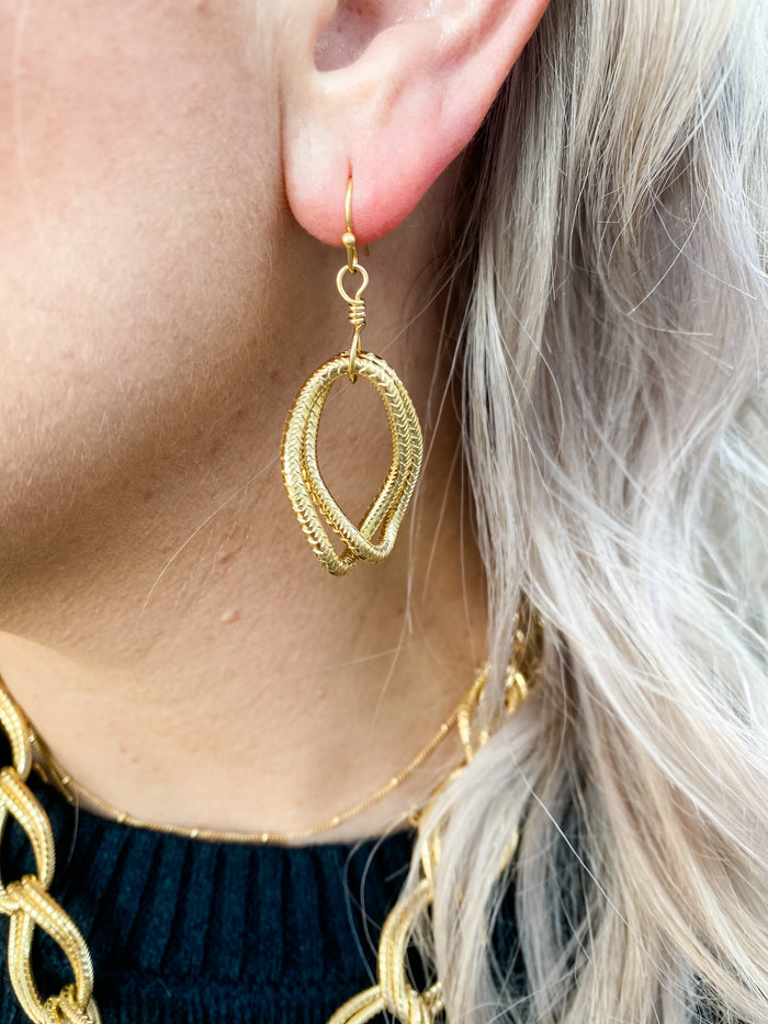 SS Textured Double Earrings