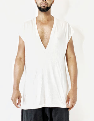 Deep V Neck Tee Shirt | Drop Shoulder T Shirt | Off White Drape Jersey