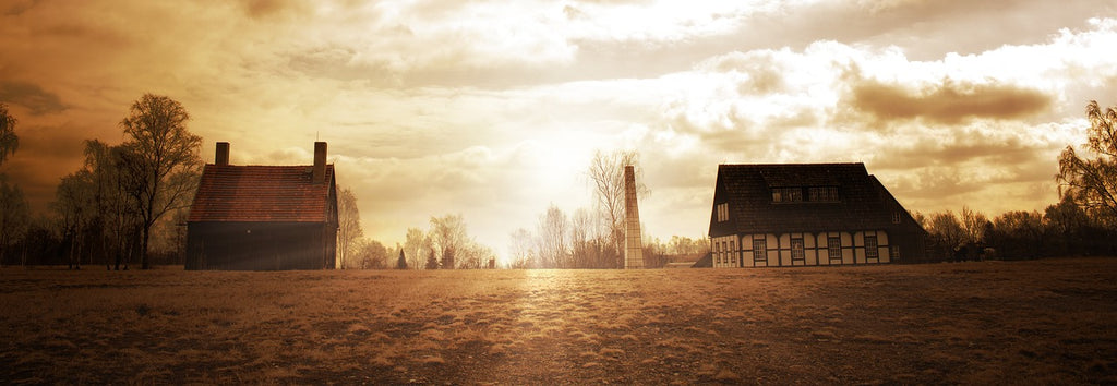 House with Sunset - Stock Photography - Country and Farm - Photo Redesign
