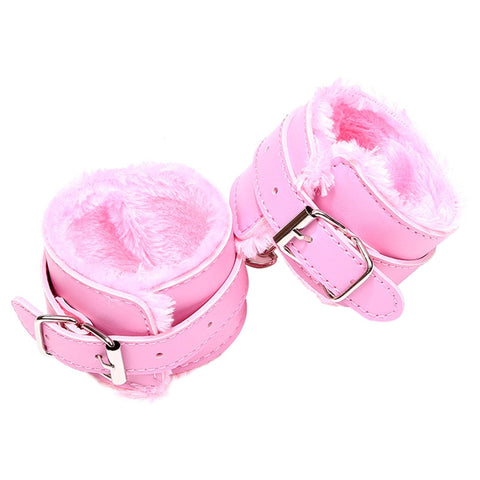 Adjustable PU Leather Plush Sex Handcuffs Sex Restraining Toy Adult Bondage Pleasure Toy
