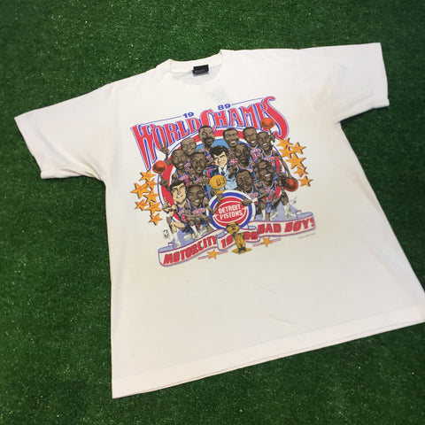 "1989 World Champs Detroit Pistons ""Motorcity Bad Boys"" T-Shirt - F as in Frank TO"