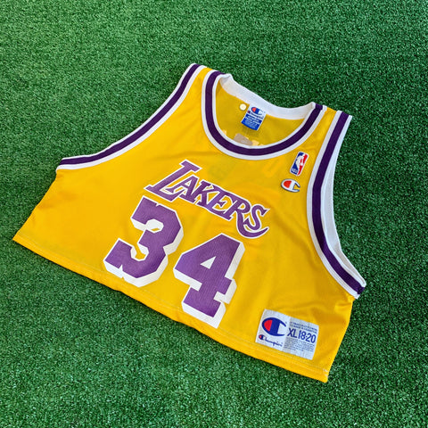 Lakers #34 O'Neal Champion Cropped Jersey