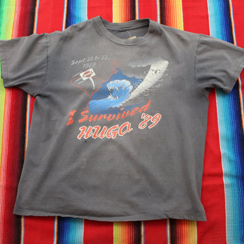 1989 Hurricane Hugo Harley Davidson Tshirt - F as in Frank TO