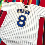 #8 Braun Brewers White and Blue Striped Baseball Jersey - F as in Frank TO