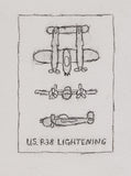 William Anthony - Drawing - U.S. P-38 Lightening, 1999