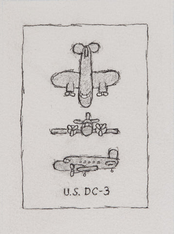 William Anthony - Drawing - U.S. DC-3, 1999